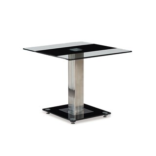 Global Furniture Clear and Single-black-striped Glass and Chrome End Table on