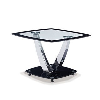 Global Furniture Black Metal and Glass End Table