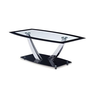 Global Furniture Black Finish Metal/Glass Top Coffee Table