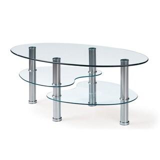 Global Furniture Silver Metal and Glass Geometric Coffee Table