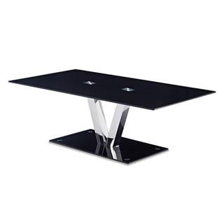 Global Furniture Black Chrome and Glass Coffee Table
