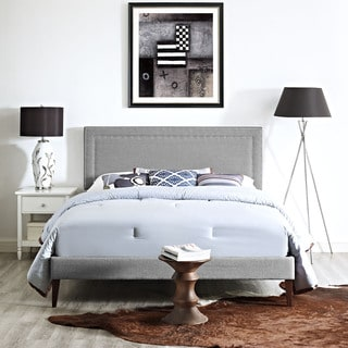Jessamine Fabric Platform Bed with Squared Tapered Legs in Light Gray