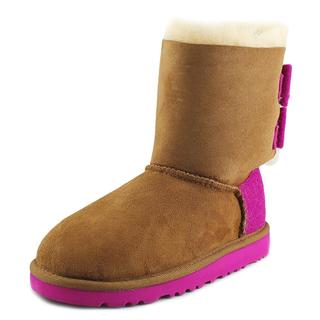 Ugg Australia Girls' K Bailey Bow Brown/Pink Regular Suede Boots
