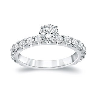 Auriya Platinum 1 1/2ct TDW Round Cut Diamond Solitaire Engagement Ring (H-I, SI1-SI2)