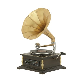 Casa Cortes Brown Finish Metal/Wood Retro Antique Replica Gramophone with Brass Horn