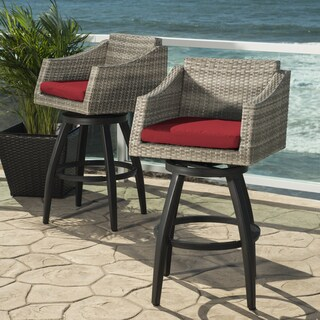 Cannes Set of 2 Swivel Barstools in Sunset Red by RST Brands