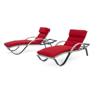 Cannes Chaise Lounges with Cushions in Sunset Red by RST Brands