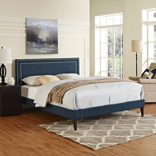 Jessamine Fabric Platform Bed with Squared Tapered Legs in Azure