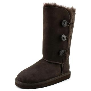 Ugg Australia Girl's 'Bailey Button Triplet' Regular Brown Suede Boots
