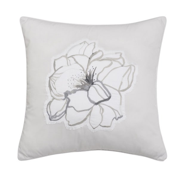 Shell Rummel Soft Repose Square Grey Embroidered Floral Decorative Throw  Pillow Amazing Design