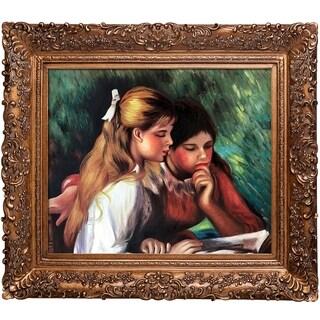 Pierre-Auguste Renoir 'La Lecture' Hand Painted Framed Oil Reproduction on Canvas