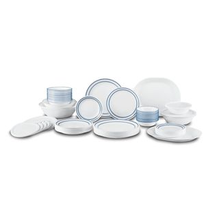Corelle Livingware Cafe Blue Vitrelle Glass/Plastic 74-Piece Dinnerware Set