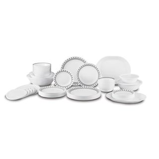 Corelle Livingware City Block Plastic/Vitrelle Glass 74-piece Dinnerware Set (Service for 12)
