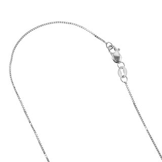 Luxurman Solid 10k Rose, White or Yellow Gold Box Chain 0.5mm Wide Necklace 18-inch long with Lobster Clasp (3 options available)