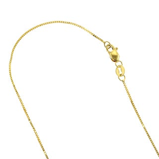 Luxurman Solid 10k Rose, White or Yellow Gold Box Chain 0.5mm Wide Necklace 18-inch long with Lobster Clasp