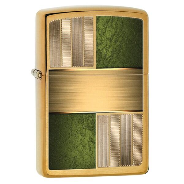 Zippo Green and Brass Windproof Lighter