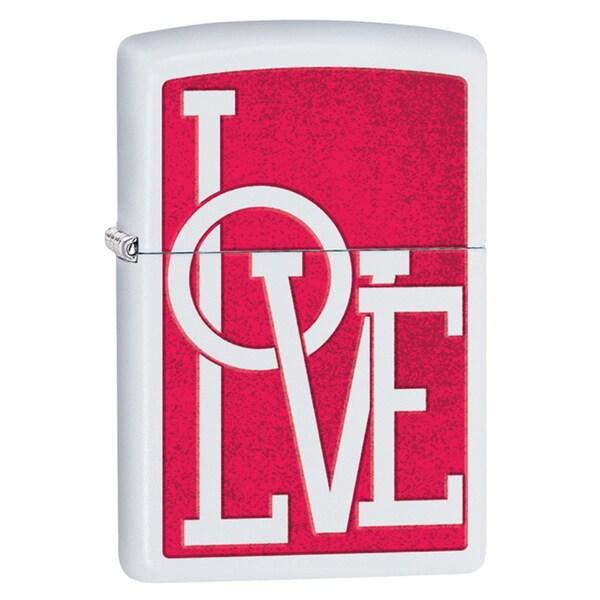 Zippo Red & White Love Windproof Lighter