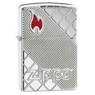 Zippo Signature Flame & Logo Diagonal Design Windproof Lighter