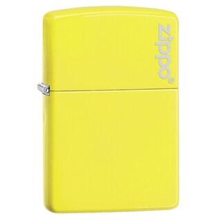 Zippo Neon Yellow Logo Windproof Lighter
