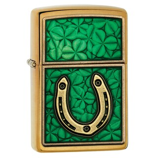Zippo Horseshoe & Clover Emblem Windproof Lighter