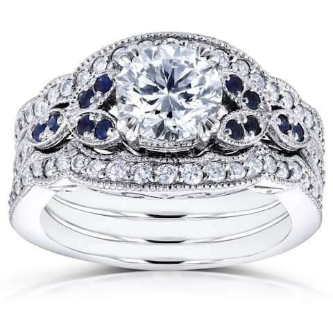 Annello by Kobelli 14k White Gold 1 1/2ct TDW Diamond and Blue Sapphire Vintage Floral 3-Piece Bridal Set (H-I,