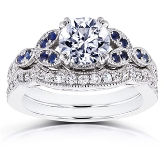 Annello by Kobelli 14k White Gold 1 1/4ct TDW Diamond and Blue Sapphire Vintage Floral Bridal Set (H-I, I1-I2)