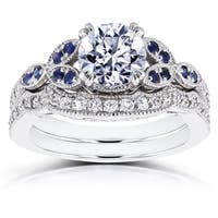 Annello by Kobelli 14k White Gold 1 1/4ct TDW Diamond and Blue Sapphire Vintage Floral Bridal Set