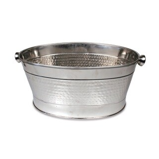 Essential Silver Stainless Steel Hammered Beverage Party Tub