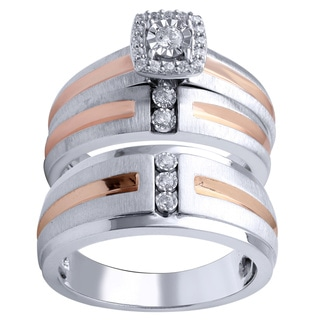 Two-tone Sterling Silver 0.20ct TDW Diamond Engagement and Wedding Ring Set (I-J, I2-I3)