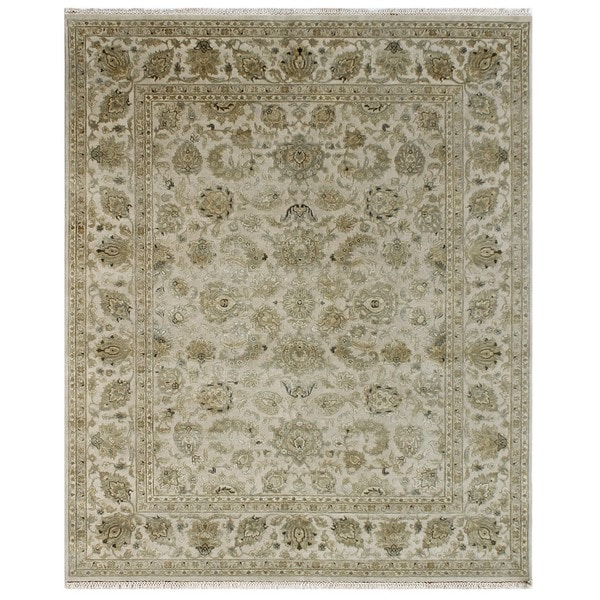 Hand Knotted Antique White Classic Pattern Rug (4' X 6')