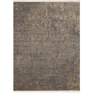 Hand Knotted Medium Gray Modern Transitional Pattern Rug (4' X 6')