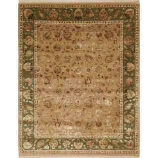 Hand Knotted Beige/Surf Green Classic Pattern Rug (4' X 6')