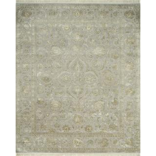 Hand Knotted Crystal Gray Classic Pattern Rug (4' X 6')