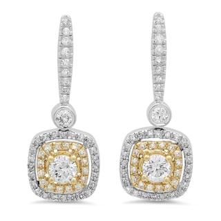 14k Two-tone Gold 7/8ct TDW Round Yellow and White Diamond Halo Dangling Drop Earrings (I-J, I2-I3)