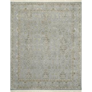 Hand Knotted Slate Blue Classic Pattern Rug (4' X 6')