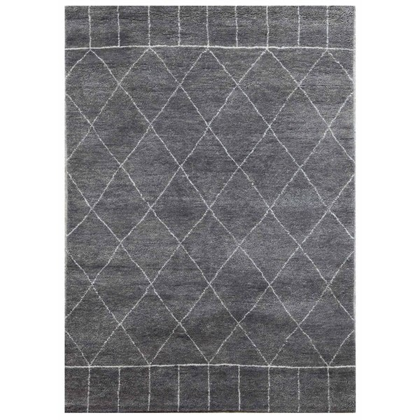 Hand Knotted Charcoal Slate/Antique White Modern Geometric Pattern Rug (4' X 6')