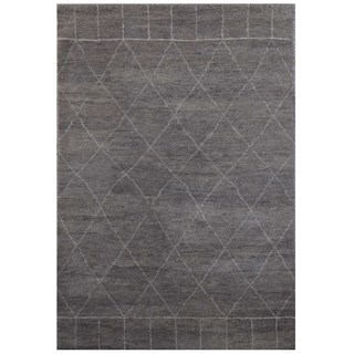 Hand Knotted Classic Gray/Antique White Modern Geometric Pattern Rug (4' X 6')