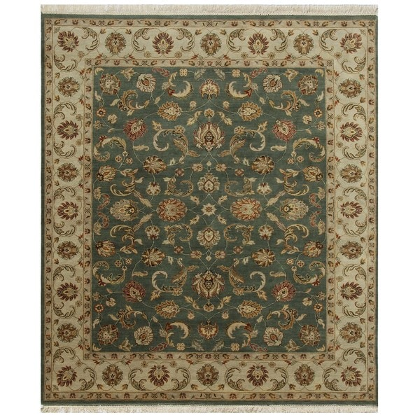 Hand Knotted Sea Green/Light Gold Classic Pattern Rug (4' X 6')