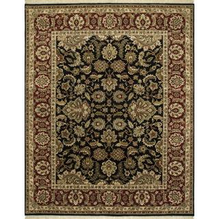 Hand Knotted Ebony/Red Classic Pattern Rug (4' X 6')