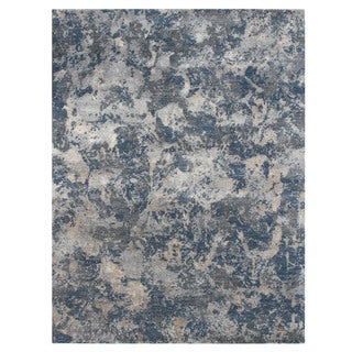 Hand Knotted Pearl Blue/Denim Blue Contemporary Pattern Rug (4' X 6')