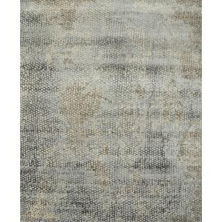 Hand Knotted Classic Gray/Pearl Blue Contemporary Pattern Rug (4' X 6')