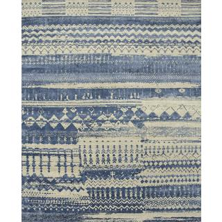 Hand Knotted Classic Gray/Ensign Blue Contemporary Pattern Rug (4' X 6')