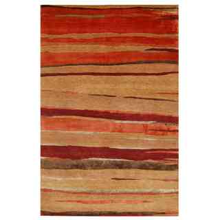 Tibetan Deep Rust Contemporary Pattern Rug (3'6 X 5'6)