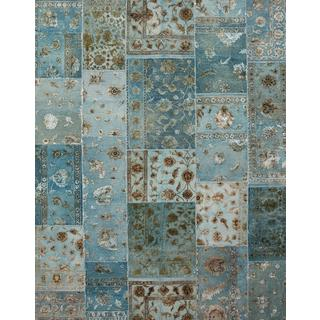 Patchwork Aruba Blue Transitional Patchwork Pattern Rug (4' X 6')