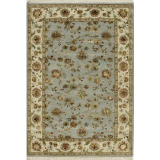 Hand Knotted Ice Blue/Light Gold Transitional Floral Pattern Rug (6' X 9')