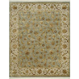 Hand Knotted Ice Blue/Ivory Classic Pattern Rug (6' X 9')