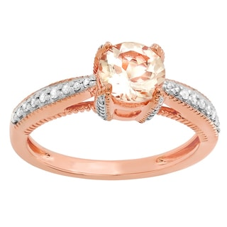 10k Rose Gold 1 1/6ct TDW Round Morganite and White Diamond Solitaire Engagement Ring (I-J, I1-I2 )