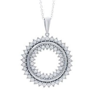 Bridal Symphony Sterling Silver Mandala Diamond Pendant