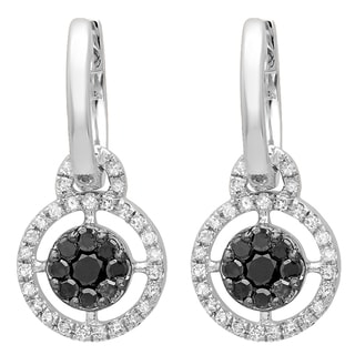 Elora 14k White Gold 2/5ct TDW Round Black and White Diamond Cluster Style Dangling Earrings