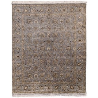 Hand Knotted Warm Gray Classic Pattern Rug (6' X 9')